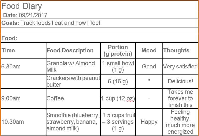 Food Diary Sample