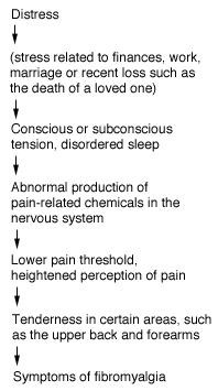 Figure 1 - Distress can trigger a number of physical reactions and lead to the symptoms of fibromyalgia.